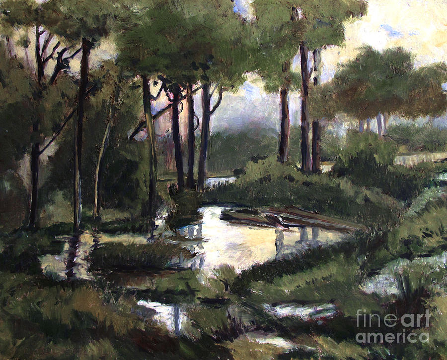 Pipe Creek Painting - Pipe Creek Falls by Charlie Spear