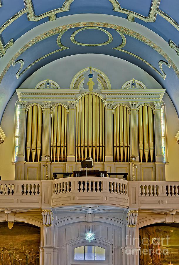 Organ Photograph - Pipe Organ At Saint Michaels by Susan Candelario