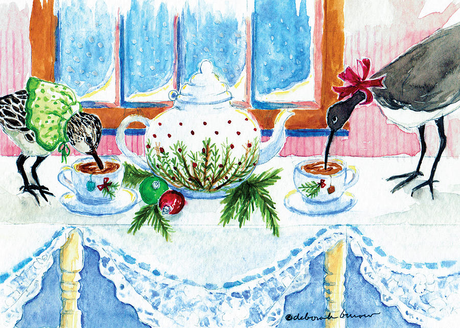 Whimsical Painting - Pipers Sipping Christmas Tea by Deborah Burow