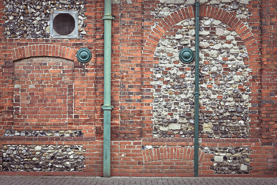 Architecture Photograph - Pipes And Wall by Tom Gowanlock