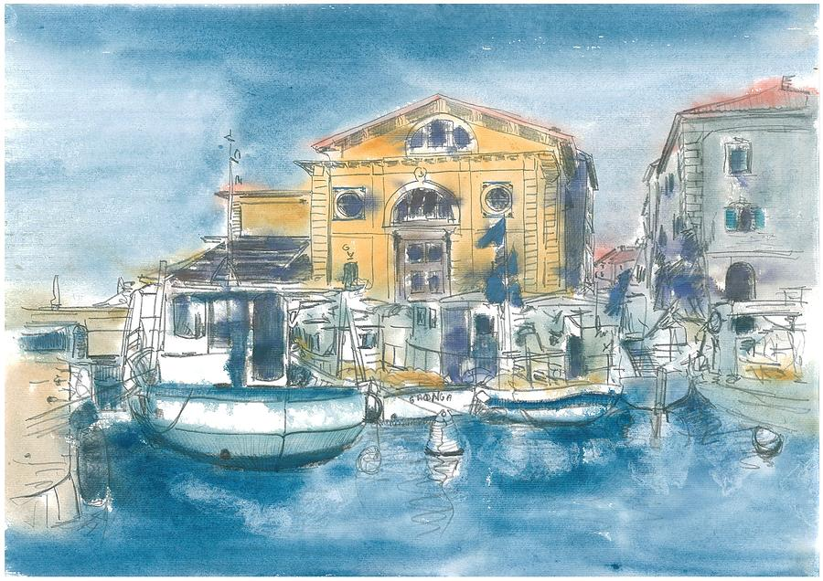Watercolour Painting - Piran - Tartini Theatre by Marko Jezernik