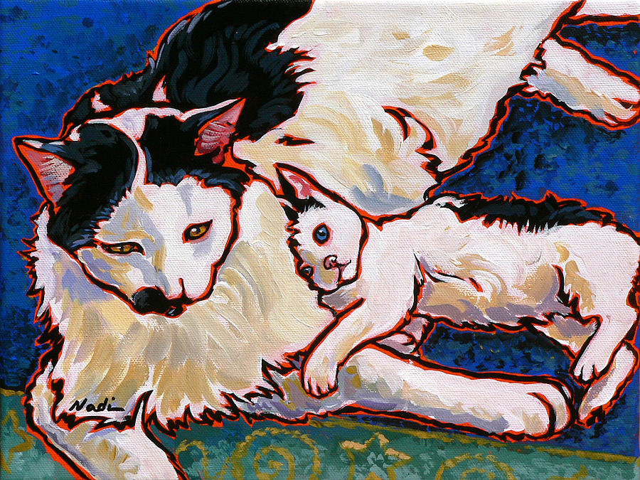 Cat Painting - Pirate And June by Nadi Spencer