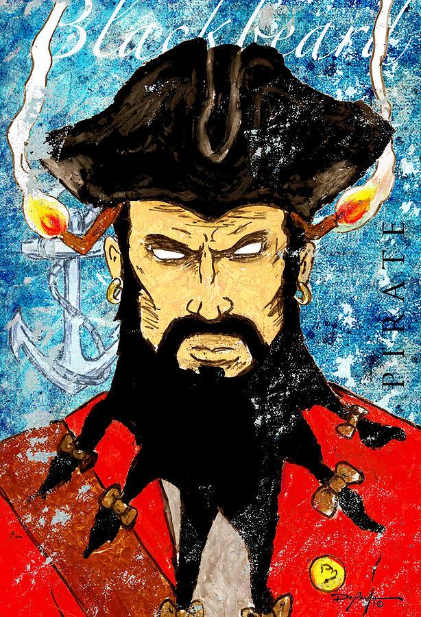 Blackbeard Mixed Media - Pirate Blackbeard by William Depaula