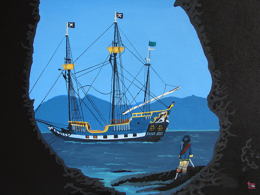 Tropical Painting - Pirate Cove by David Ellis
