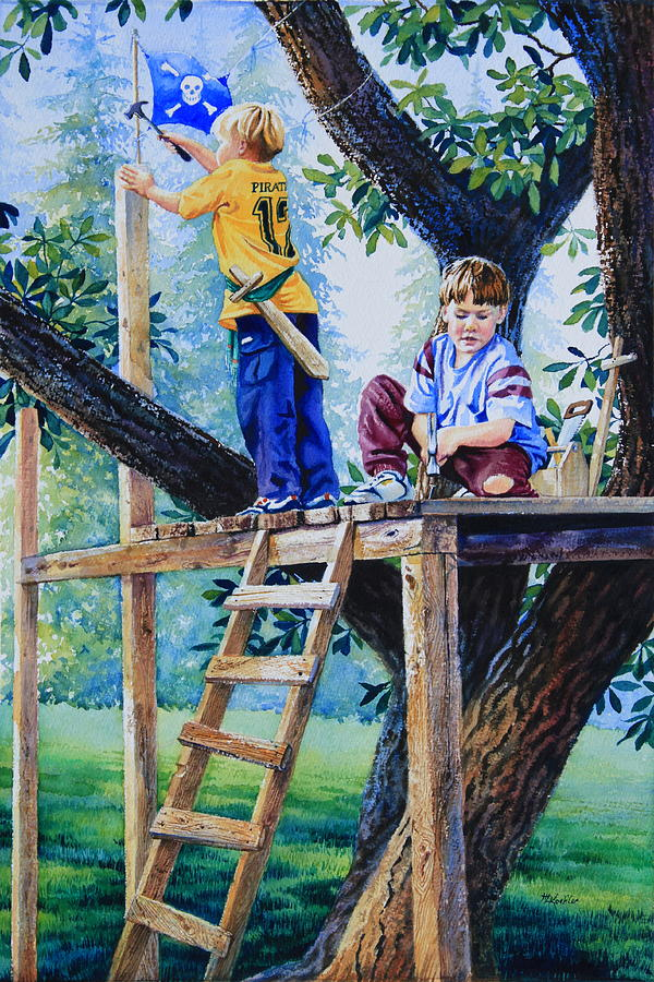 Tree House Painting - Pirate Fort by Hanne Lore Koehler