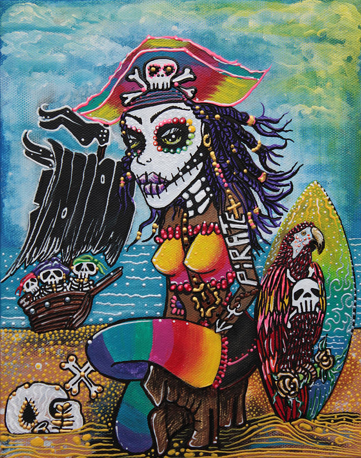 Pirate Painting - Pirate Girl - Surfs Up by Laura Barbosa