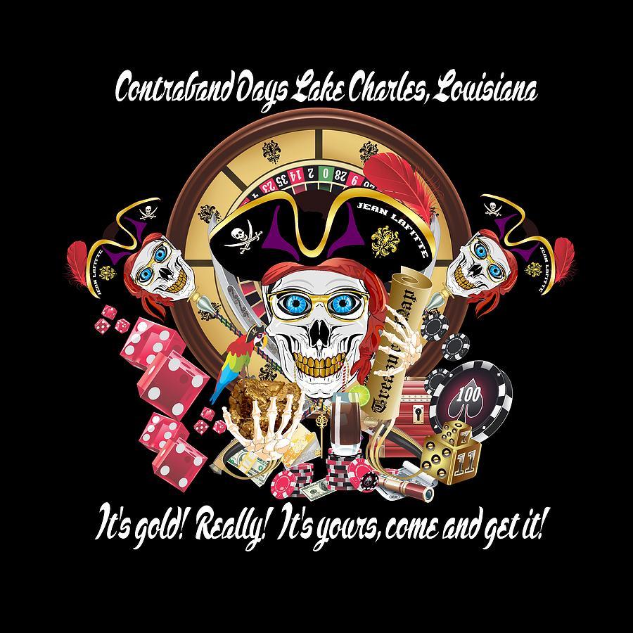 Pirate Digital Art - Pirate Lafitte Lake Charles La Throw Pillow by Bill Campitelle