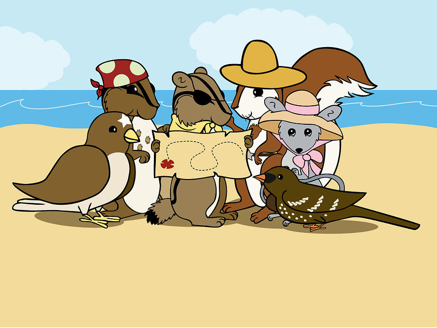 Chipmunk Digital Art - Pirate Map by Christy Beckwith