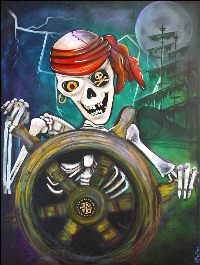 Pirate Painting - Pirate Moon by Laura Barbosa