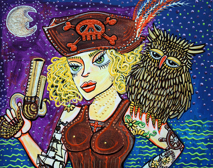 Owl Painting - Pirate Quest For The Golden Owl by Laura Barbosa