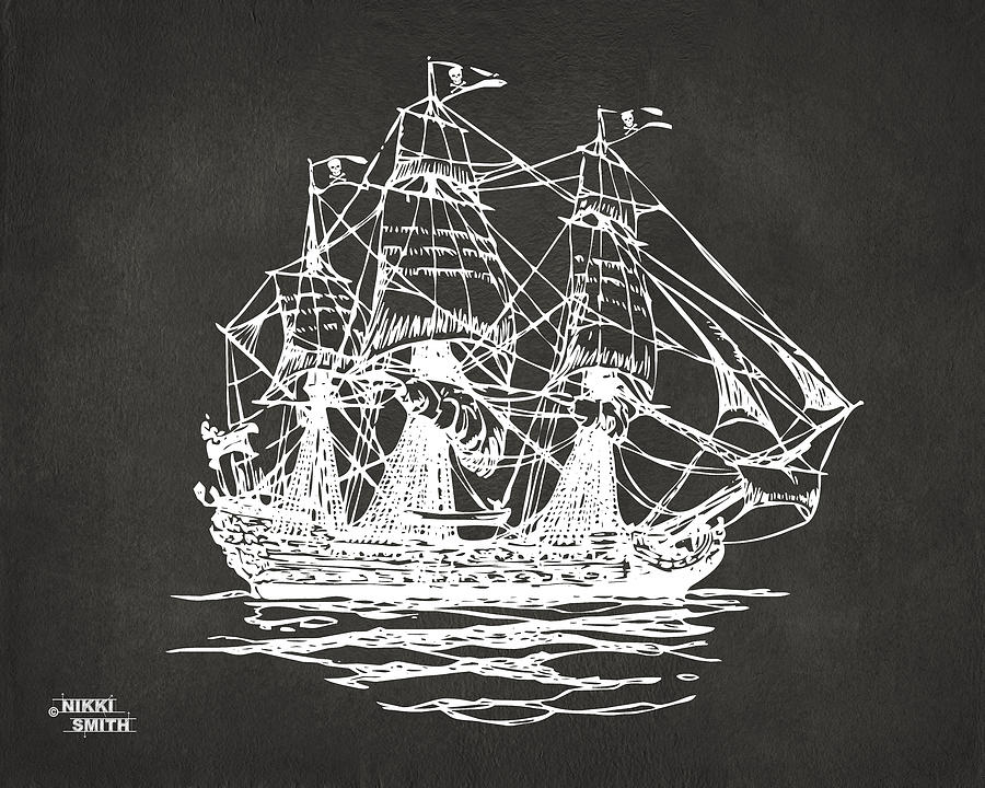 Pirate Ship Drawing - Pirate Ship Artwork - Gray by Nikki Marie Smith