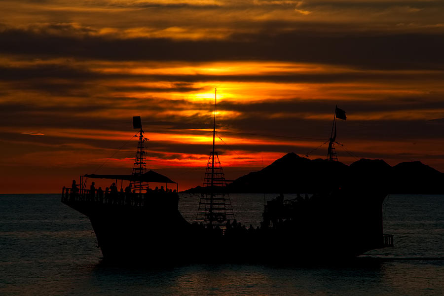Ship Photograph - Pirate Ship At Sunset by Robert Bascelli