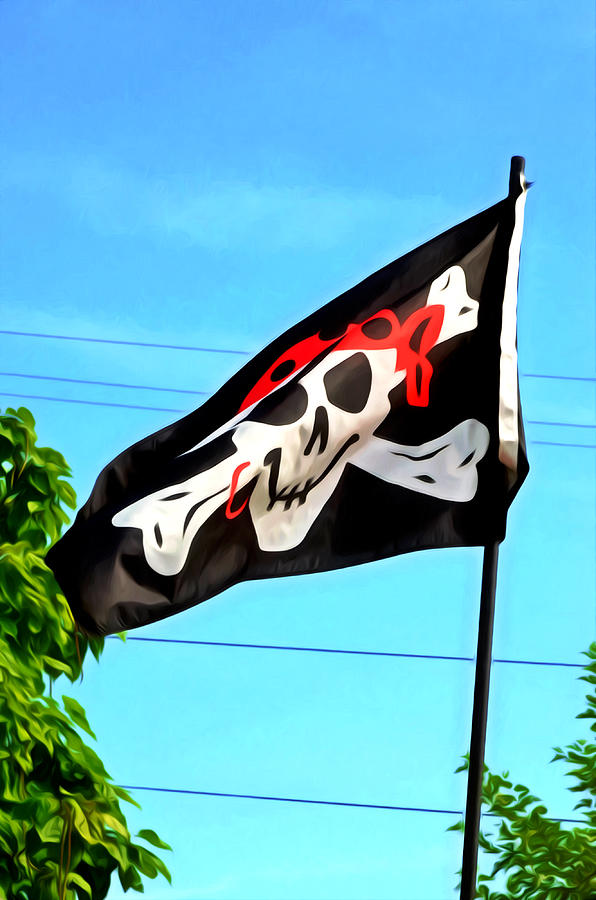 Bad Painting - Pirate Ship Flag Of The Skull And Crossbones by Lanjee Chee