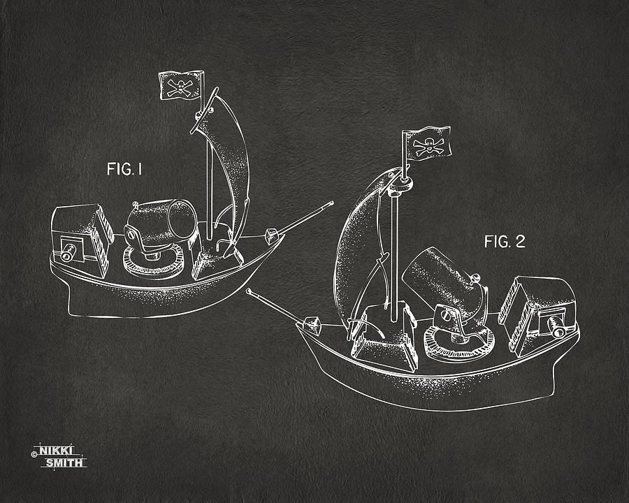 Pirate Digital Art - Pirate Ship Patent Artwork - Gray by Nikki Marie Smith