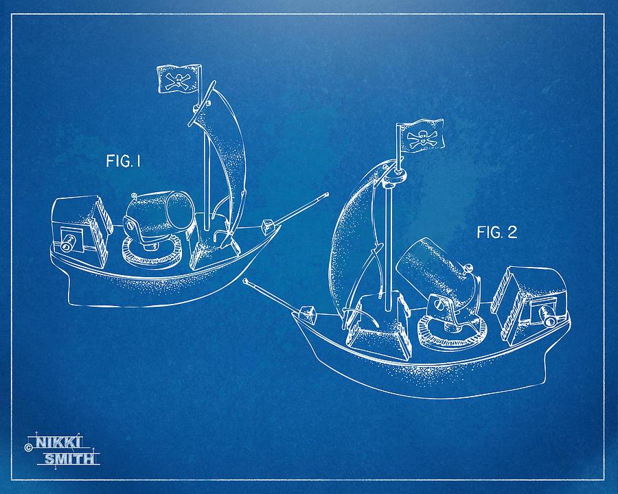 Pirate Digital Art - Pirate Ship Patent - Blueprint by Nikki Marie Smith