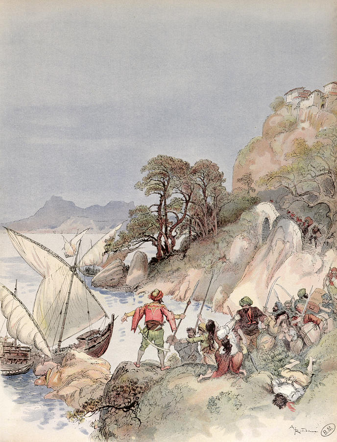 Terrorism Painting - Pirates From The Barbary Coast Capturin Gslaves On The Mediterranean Coast by Albert Robida