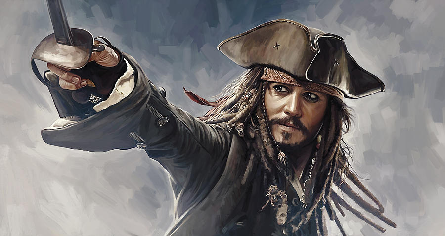 Johnny Depp Paintings Painting - Pirates Of The Caribbean Johnny Depp Artwork 2 by Sheraz A
