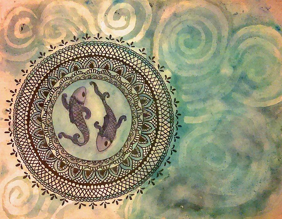 Pisces Painting - Pisces Mandala by Jennie Hallbrown