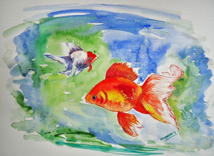 Gold Fish Painting - Pisces by Shakhenabat Kasana