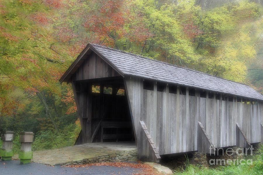 Autumn Photograph - Pisgah Covered Bridge by Karol Livote