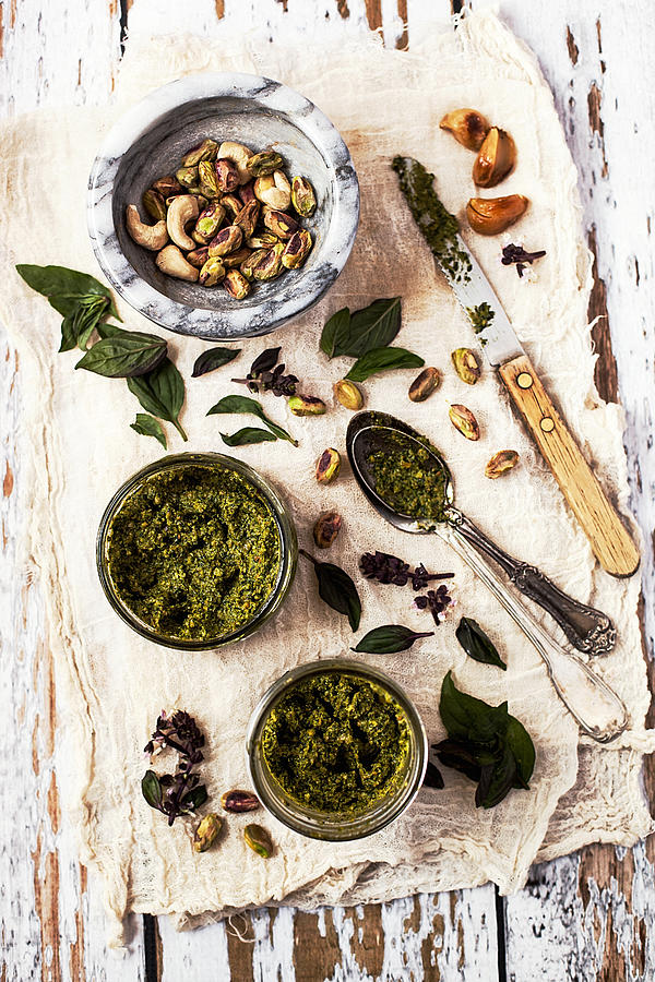 Pistachio Pesto With Mortar, Jars And Photograph by One Girl In The Kitchen