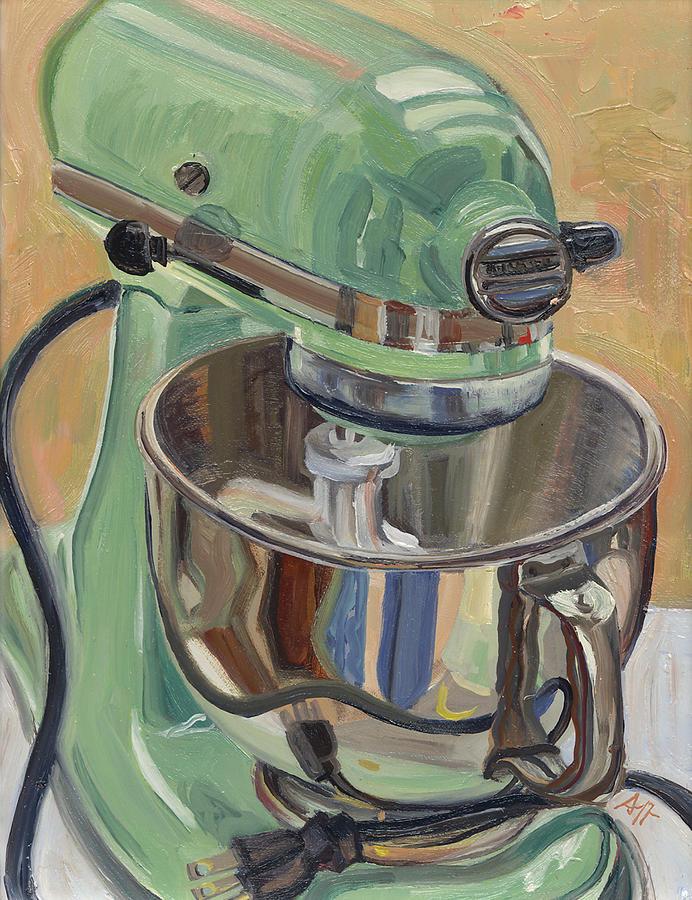 Pistachio Painting - Pistachio Retro Designed Chrome Flour Mixer by Jennie Traill Schaeffer