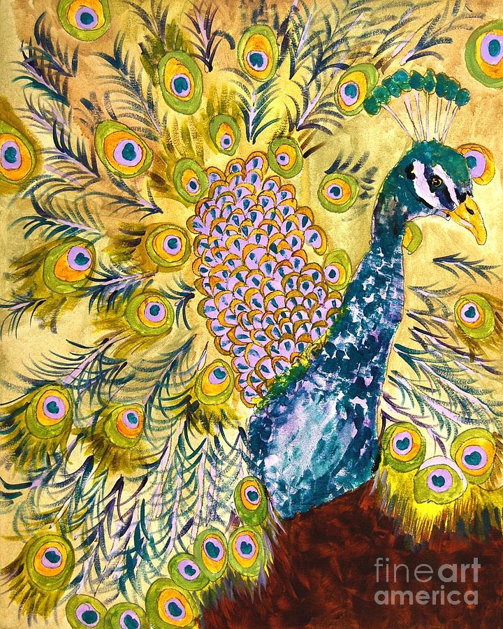 Painting Painting - Pistacio Peacock by Miriam  Schulman