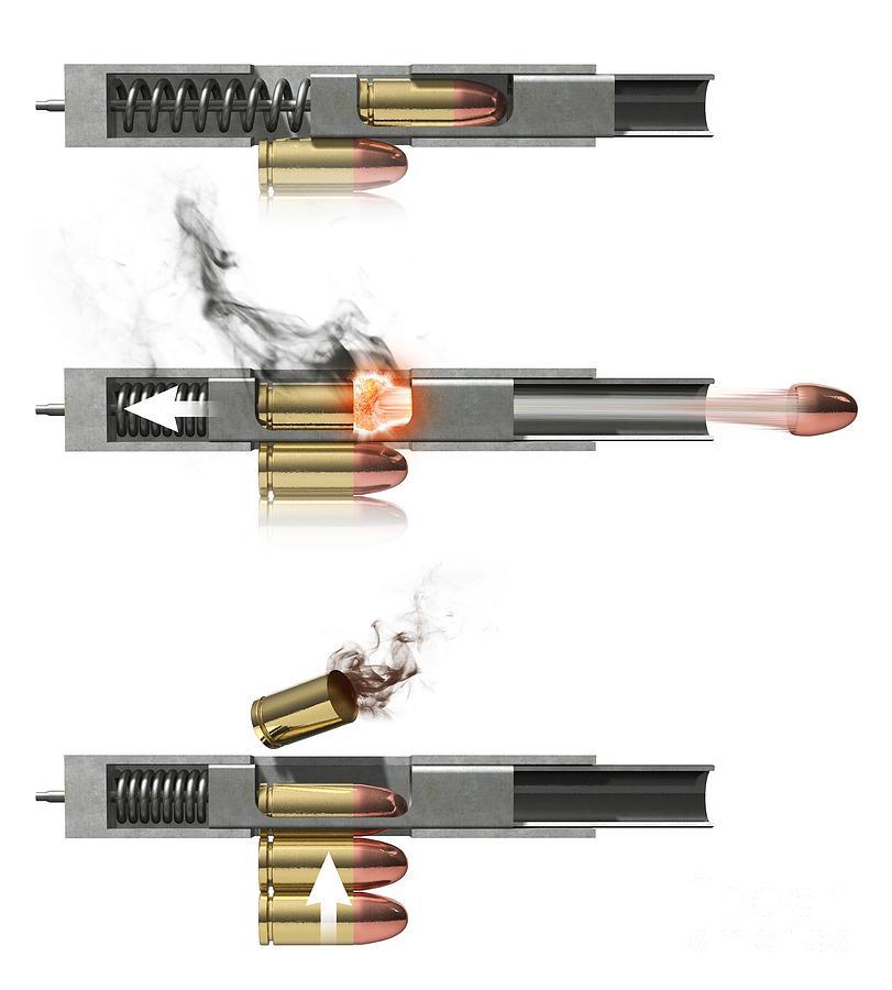 Firing Mechanisms For Guns : Pistol firing mechanism artwork photograph by claus lunau