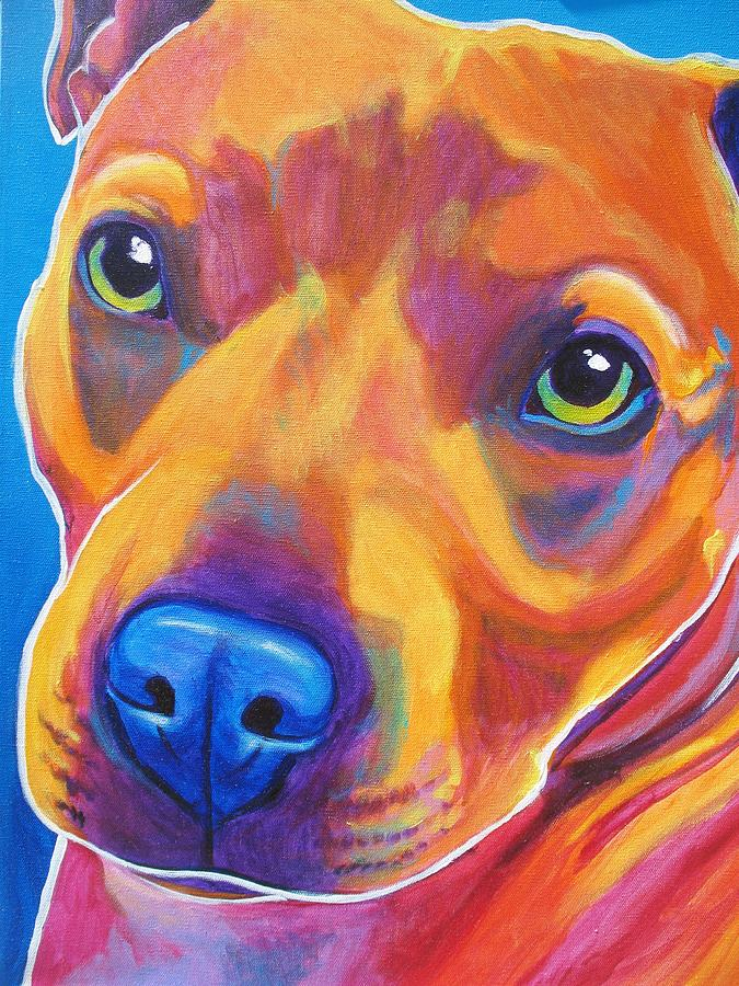 American Painting - Pit Bull - Boo by Alicia VanNoy Call