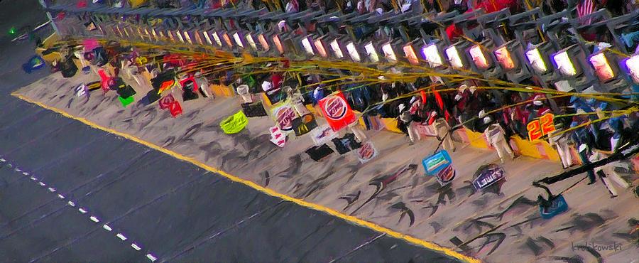 Nascar Painting - Pit Road by Kenneth Krolikowski