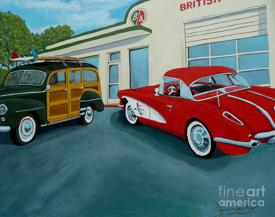 British American Painting - Pit Stop by Anthony Dunphy