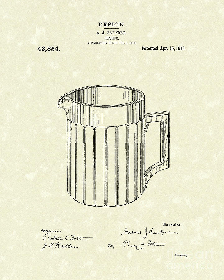 Sanford Drawing - Pitcher 1913 Patent Art by Prior Art Design