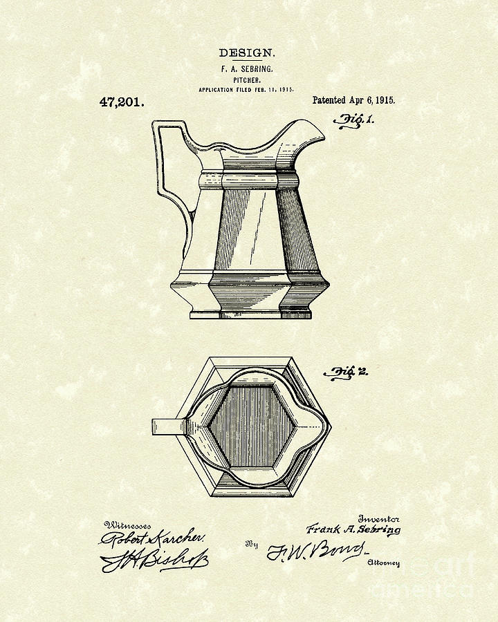 Sebring Drawing - Pitcher 1915 Patent Art by Prior Art Design