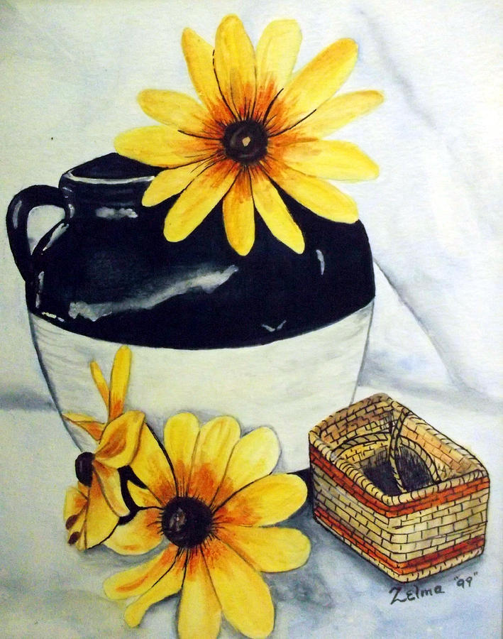 Yellow Flowers Painting - Pitcher With Yellow Flowers by Zelma Hensel