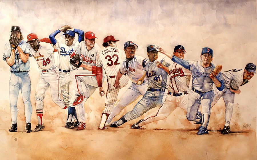 Pitchers Painting - Pitching Windup  by Michael  Pattison
