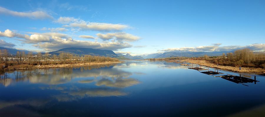 Pitt River Bridge View Of Golden Ears Prov. Park - Pitt Meadows, British Columbia Reflections Photograph