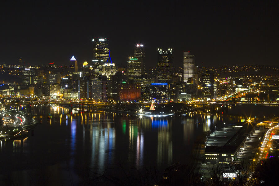 Skyline Photograph - Pittsburgh At Christmas by Nathan Ealy