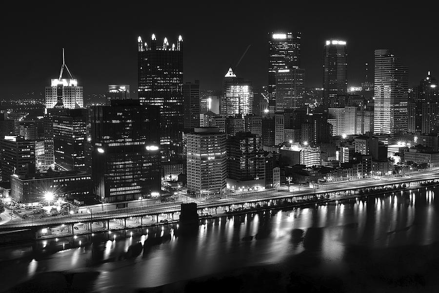 Pittsburgh photograph pittsburgh black and white night by frozen in time fine art photography