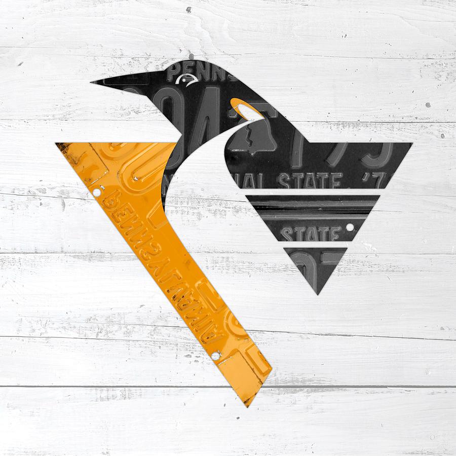 Pittsburgh Penguins Hockey Team Retro Logo Vintage Recycled ...