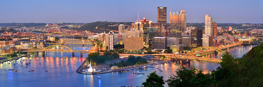 Pittsburgh Skyline Photograph - Pittsburgh Pennsylvania Skyline At Dusk Sunset Panorama by Jon Holiday