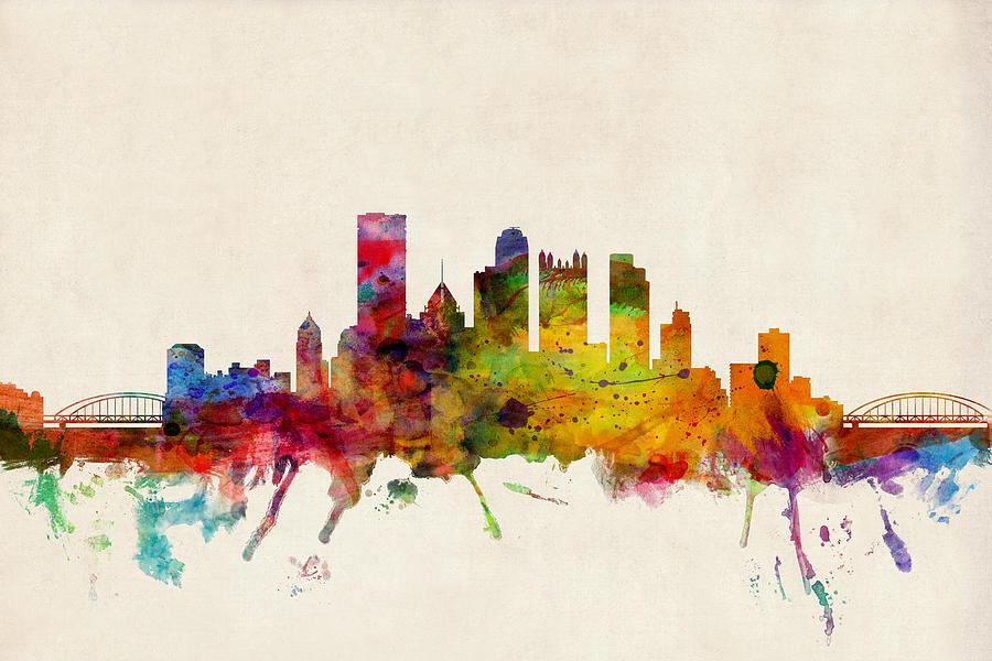 Watercolour Digital Art - Pittsburgh Pennsylvania Skyline by Michael Tompsett