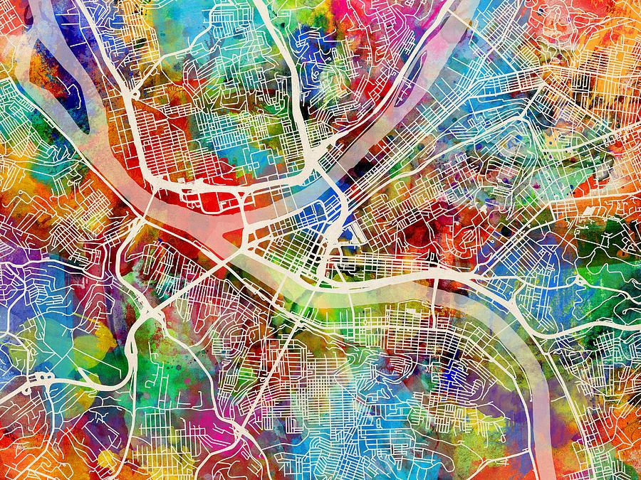Pittsburgh Pennsylvania Street Map Digital Art By Michael Tompsett
