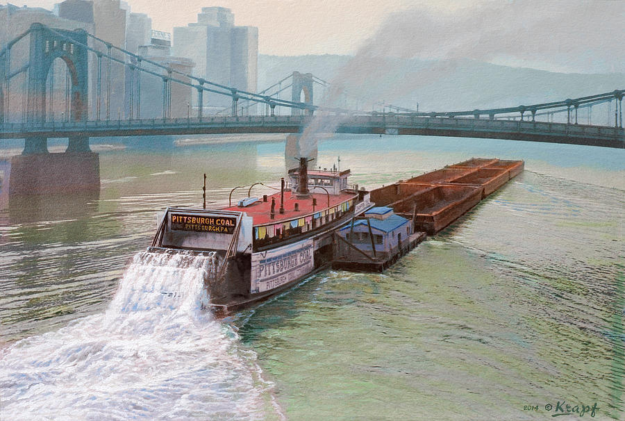 Pittsburgh Painting - Pittsburgh River Boat-1948 by Paul Krapf