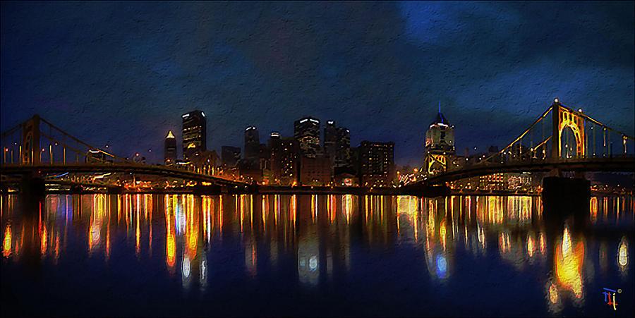 Blue Digital Art - Pittsburgh Skyline 2 by  Fli Art