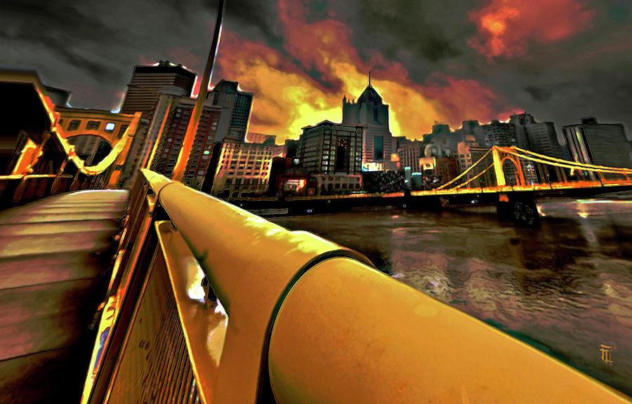 Pittsburgh Skyline Painting - Pittsburgh Skyline by Fli Art
