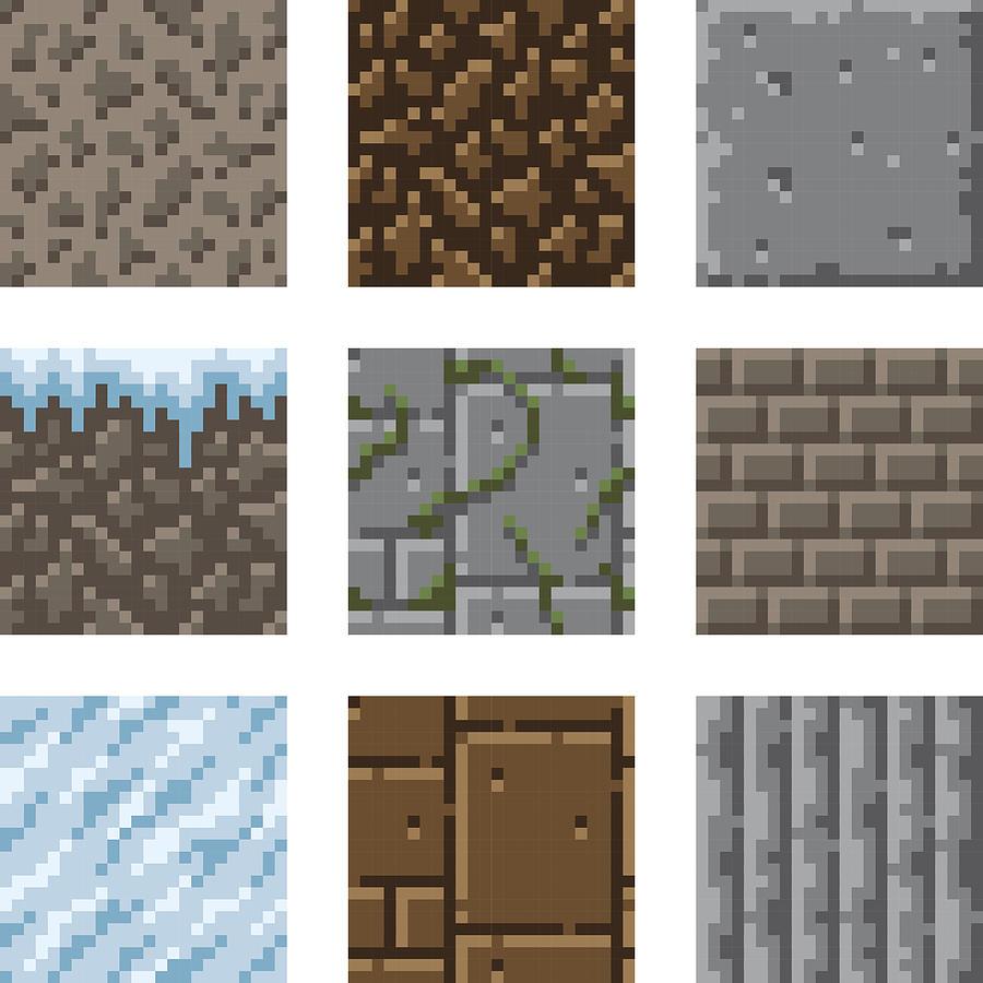 Pixel Art Seamless Gaming Terrain Tiles by Bortonia