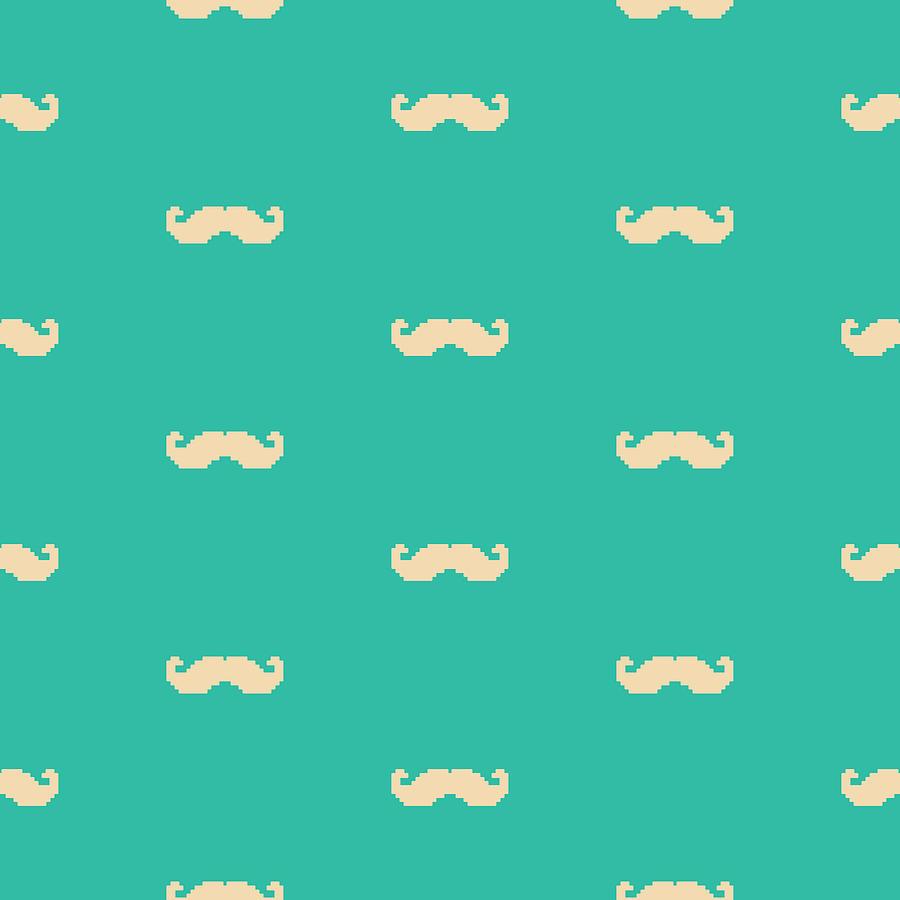Pixel Mustache Pattern Digital Art by Mike Taylor