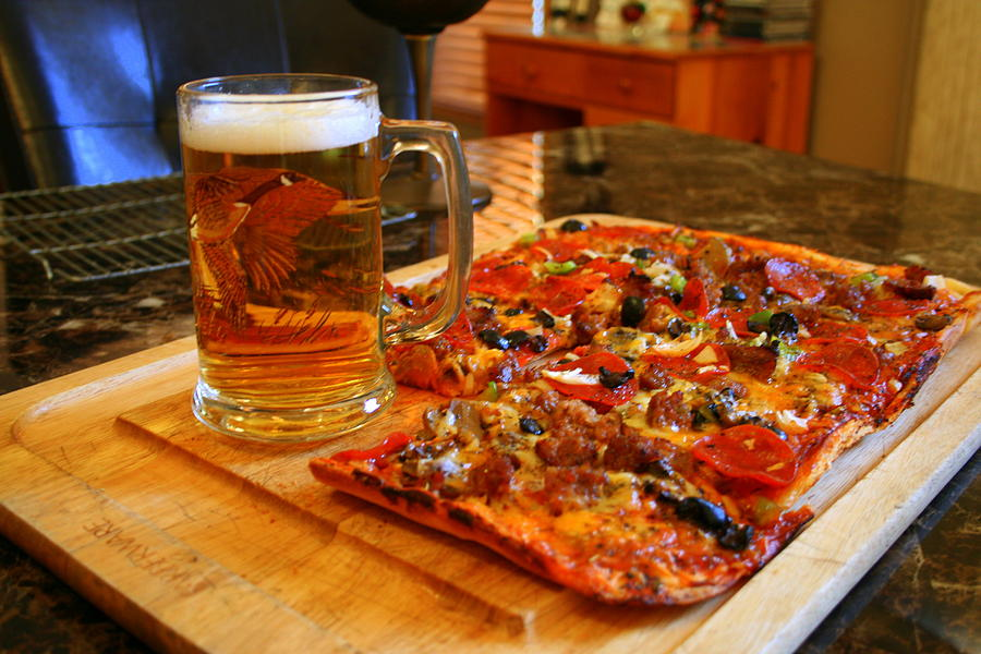 Food Photograph - Pizza And Beer by Kay Novy