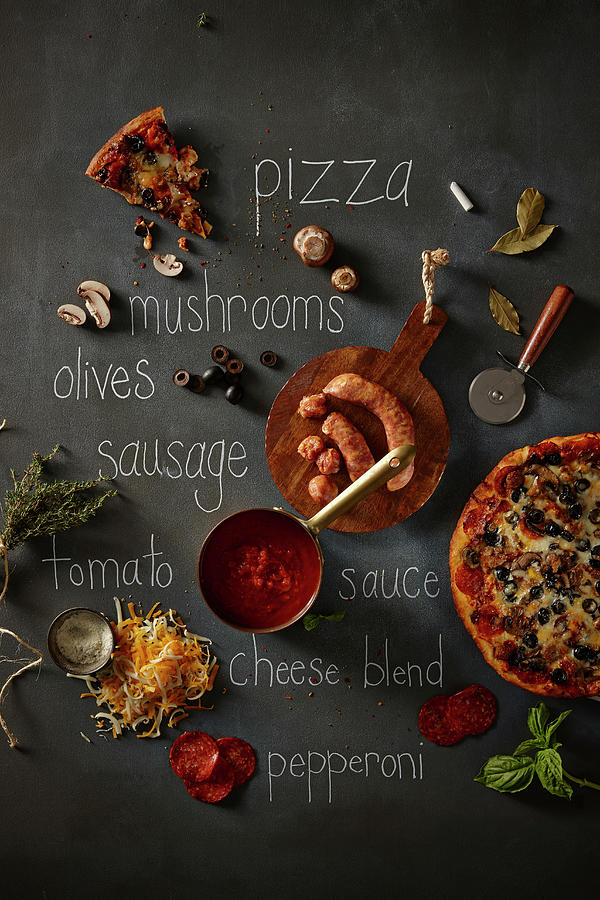Pizza And Ingredients Photograph by Lew Robertson