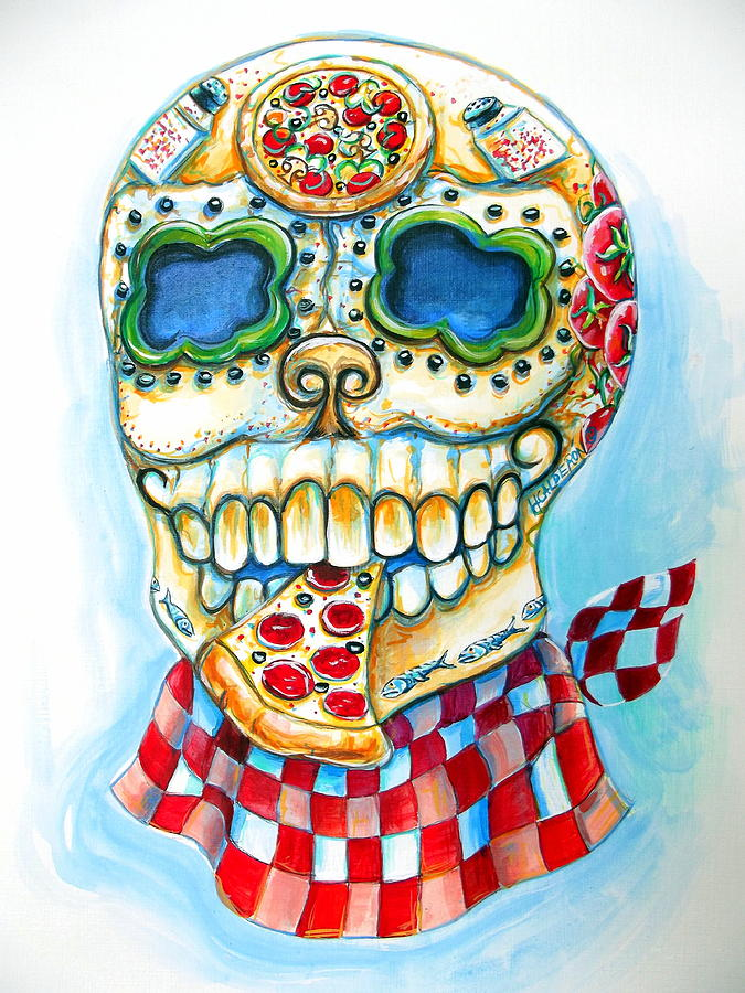 Day Of The Dead Painting - Pizza Sugar Skull by Heather Calderon